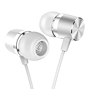 In 入耳式 sdflayer SILVERLIGHT earbuds with Line-in 麦克风重低音动态 Driver 耳机与非 Tangle TPE 充电线适用于跑步健身适用 Android 手机音乐播放器 iphone 不适用于 IOS AAC Silver-White50