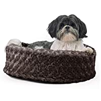 "furhaven 宠物 NAP 椭圆形躺椅床适用于狗或猫 巧克力 18"" RND"