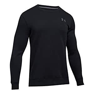 Under Armour Men's Rival Solid Fitted Crew Warm-up Top, Black, 2X-Large