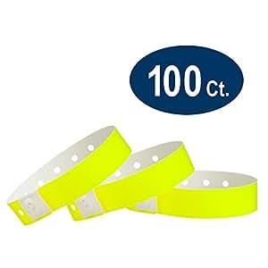 WristCo 霓虹黄色 塑料腕带 100份 霓虹黄色
