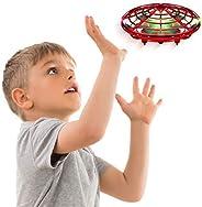 Force1 Scoot 手动无人机-免提迷你无人机,简易室内小型UFO飞球无人机玩具 适合儿童(男孩和女孩)和成人(红色)