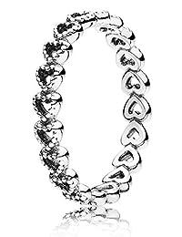 潘多拉女士戒指 gereihte 心190980 银白色
