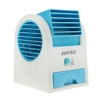 Greenery 多功能便携式抽屉式香水味桌面无叶迷你风扇空调双用 USB/电池供电冷却风扇 时尚蓝色 43307-15417