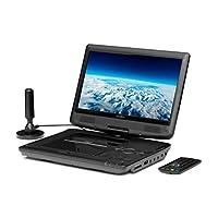 反射式便携式(10 英寸)DVD 播放器,带 DVB-T2 HD 调谐器,遥控器,12V 适配器,HDMI,USB,230V 电源黑色 黑色 DVD1017T2HD