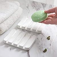 Ficarsi 斐佧思 日式硅藻土皂托吸水速干创意简约沥水肥皂盒洗手间洗漱台面硅藻泥垫香皂架 (2个装/白色)