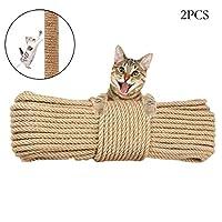 Hamiledyi 猫树替换绳索,未经处理天然剑麻绳索索索索索,适用于猫咪抓挠柱,塔,家具,花盆,猫屋(8 毫米 66 英尺 2 件)