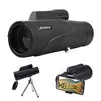 带有智能手机适配器和三脚架的单目望远镜,10X42 单筒望远镜,适合成人鸟观看、狩猎、露营、远足