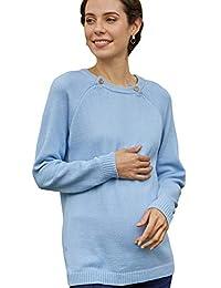 孕妇和哺乳 * 有机棉插肩针织毛衣,带纽扣