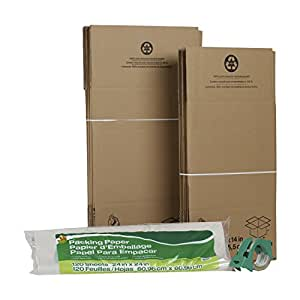 Duck Brand Moving Kit with 12 Boxes, 120-Sheets Packing Paper, 1 Roll HD Clear Packing Tape (280378)