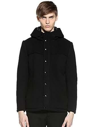 Trendiano 男式 潮休闲英伦连帽拼接长袖毛呢外套 31343409700902 黑色 S