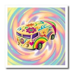 dooni Designs 复古风格漫画–时髦复古嬉皮 sixties seventies BUS with swirly psychedlic 背景–熨烫热转印