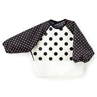 吃饭围裙(有袖)单调 食物洒落 防水 婴儿 日本制造 宝宝 围兜 polka dot large(broadcloth・white)×圆点・黑色 B1005000