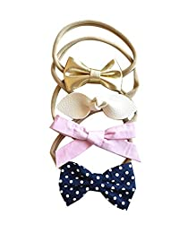 California Tot 柔软弹力尼龙头带,适用于新生儿、婴儿、学步儿童、女孩、混合 4 或 7 件套