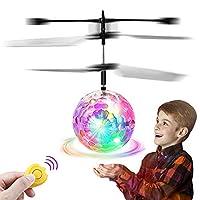 Feiqio 飞球玩具,儿童遥控玩具,带 LED 无人机传感器感应直升机,带遥控器,室内/室外游戏飞行玩具,适合男孩和女孩,适合 6 岁以上儿童的*佳礼物 红色