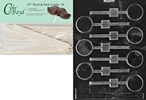 Cybrtrayd 45St50-M062 Small Round Lolly Miscellaneous Chocolate Candy Mold with 50-Pack 4.5-Inch Lollipop Sticks