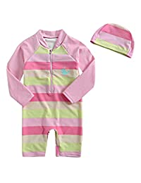 Aschlop 女婴 UPF50+ *衣 儿童 防紫外线 S/S 连体拉链泳衣
