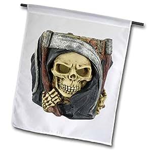 FL _ 131328blonde Designs 快乐和 haunted 万圣节–万圣节恐怖 grim reaper–旗帜 12 x 18 inch Garden Flag