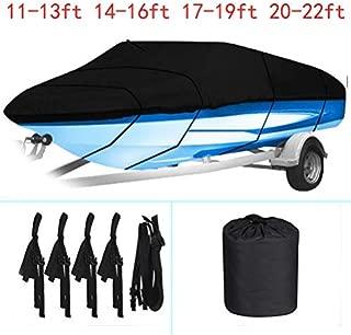 labworkauto 防水重型 210D 船罩可拖曳船罩,适合 V 型船罩、三轮船、跑步船罩长度:11-22 英尺(约 27.9 米)黑色