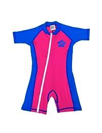 婴儿尺码 L 太阳紫外线防护连体衣 粉色/蓝色泳衣 SPF+50 年龄 24-36 个月