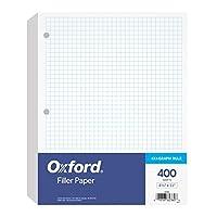 牛津填充纸,21.59 cm x 27.94 cm,方格规则,3 孔孔孔 400 张每包 (62360)