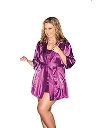 iCollection 女士加大码缎长袍 紫色 1X / 2X