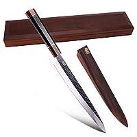 26.67 cm Sakimaru 刀 Findking-Prestige 系列 - 67 层日本 SKD11 大马士革钢,带八角形手柄 10.5 inch Yanagiba Knife