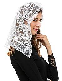 Pamor D 形面纱蕾丝曼蒂拉天主教教教堂式面纱头围巾带免费发夹