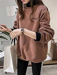 Goralon 冬季外套女2018新款chic字母刺绣半高领加绒卫衣女宽松BF风上衣潮