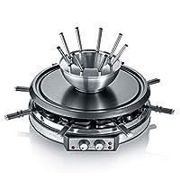 SEVERIN RG 2348 Raclette 组合厨具 约 1900 W 不锈钢锅 2 个可独立调节加热元件 8 个不粘涂层的煎锅