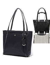 Miss Fong 女士笔记本电脑包,女式手提包适合 15.6 英寸笔记本电脑和平板电脑,尼龙手提包带内袋整理袋和 RFID 屏蔽钱包口袋(黑色)
