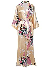 "BABEYOND Women's Kimono Robe Short Robes With Peacock and Blossoms Printed Kimono Outfit 37"" Long"