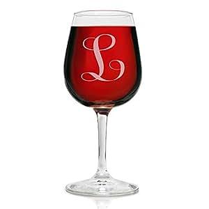 交织字母 12.75 盎司雕刻*杯 优雅玻璃 适合饮用红*或白*的风格- 适合任何特殊场合的完美礼物 - 作者:Rox L-Monogram SYNCHKG095392