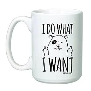 425.24 g I Do What I Want 咖啡杯 - 趣味古怪猫马克杯 - Rude Cat - Bold Statement 马克杯 White - Dog 15盎司 43397-13052