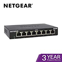 NETGEAR 千兆金属以太网桌面/壁挂式交换机GS308-300UKS  8 Port (Version 2) 8 Port Gigabit (V2)