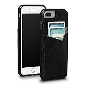 Sena Bence Lugano Wallet - Genuine Leather Drop Safe Protection Card Holder case for iPhone 8 Plus / 7 Plus 黑色