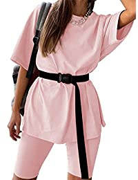 LYANER 女式 2 件套套装束腰宽松短袖 T 恤和短裤套装带腰带