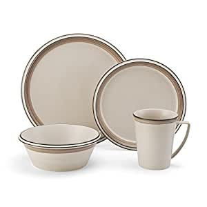 Mikasa 4 Piece Place Setting Dinnerware Set, Concord Tan