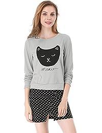 allegra K 女式猫印花圆领长袖轻质运动衫