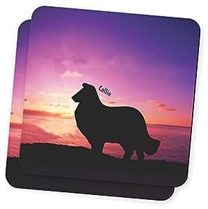 "Rikki Knight""Collie Dog At Sunset Design""柔软方形啤*杯垫(2 件套),多色"