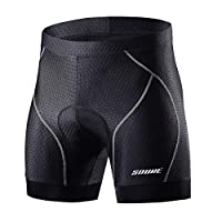 Souke Sports 男士骑行内裤 4D 衬垫自行车 MTB 衬垫短裤带防滑腿套