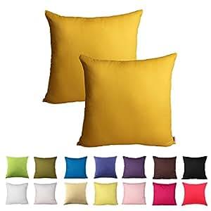 Queenie - 2 件纯色棉装饰枕套靠垫套沙发抱枕套 14 种颜色和 5 种尺寸可选 芥末黄 18 x 18 inch (45 x 45 cm)