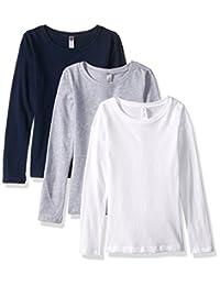 Clementine Apparel 3 件装大女孩补间青少年圆领长袖 T 恤