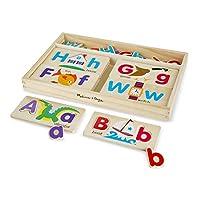 Melissa&Doug ABC字母畫板益智玩具 (含13片雙面木制畫板和52個字母)
