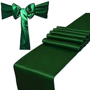 Parfair Dessin 缎面桌巾 30.48 x 274.32 厘米,婚礼宴会装饰,亮丝绸和光滑面料派对桌布 森林绿 Combo 2 Table Runner + 10 Chair Saches XTPL-STR