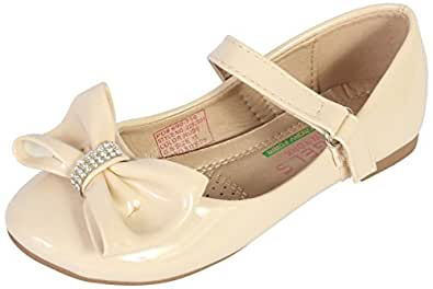 Angels New York 女童芭蕾鞋,带*泡沫鞋垫(幼儿/小童/大童) Nude Patent 4 M US 儿童