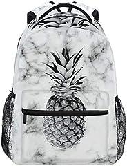 笔记本电脑背包男孩格栅 - 大理石纹理菠萝水果书包电脑背包适用于徒步旅行、露营户外运动和户外运动