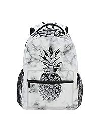 筆記本電腦背包男孩格柵 - 大理石紋理菠蘿水果書包電腦背包適用于徒步旅行、露營戶外運動和戶外運動