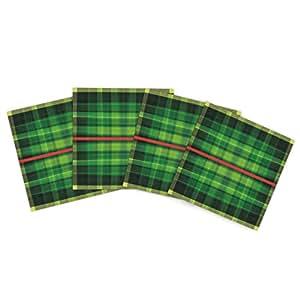 Kess InHouse Matthias Hennig 格子呢户外垫子,15 x 15 英寸,4 件套