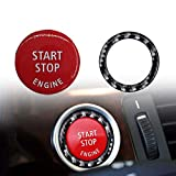 XtremeAmazing Red Start Stop Engine Key Button Switch Cover with Ring Cover 贴纸 装饰 黑色 银质