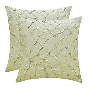 The White Petals 人造丝绸 Pinch Pleat 枕套 2 件装